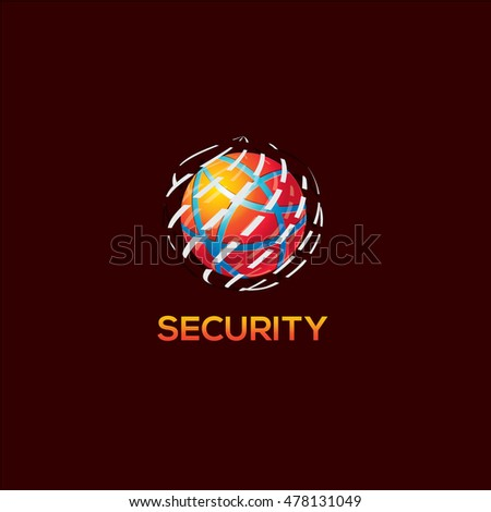 Globe logo, security service vector