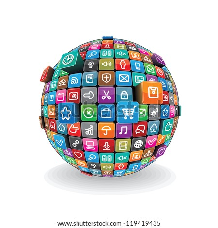 Globe made from a Different Social Media and Computer Icons. Conceptual Technology Logo. Vector isolated on White Background. - stock vector
