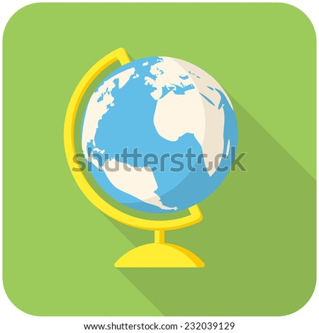 Globe, modern flat icon with long shadow - stock vector