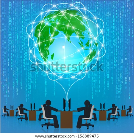 Globe network connection. Matrix technology. Template, infographics, business concept - stock vector