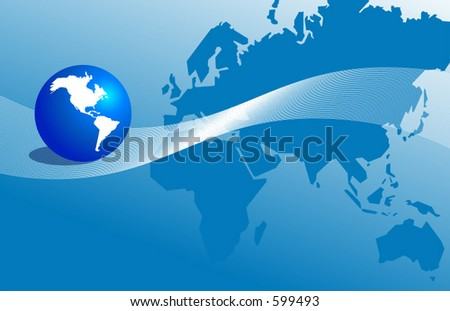 Globe of the Americas with rest of the world in the background - stock vector