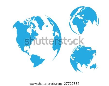 Globe of the World, blue / vector - stock vector