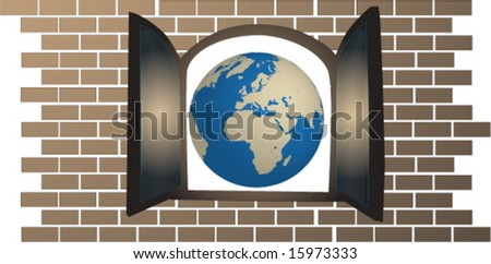 globe of the world seen from an open window - stock vector