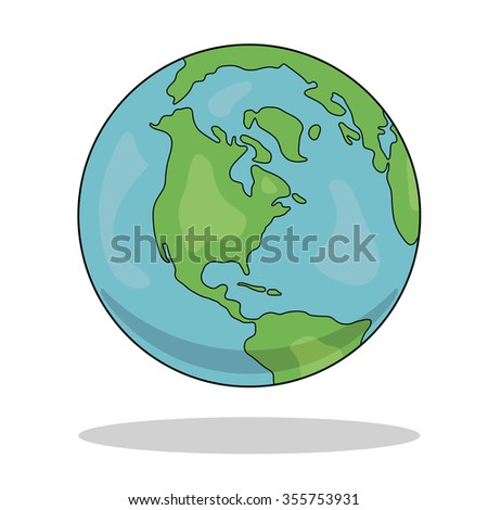 globe of the world vector illustration on white background with shadow