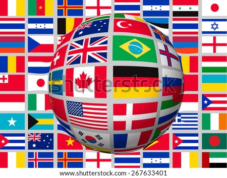 Globe on a background with flags of the world. Vector. - stock vector