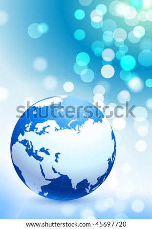 Globe on Lens Flare Abstract Background Original Vector Illustration