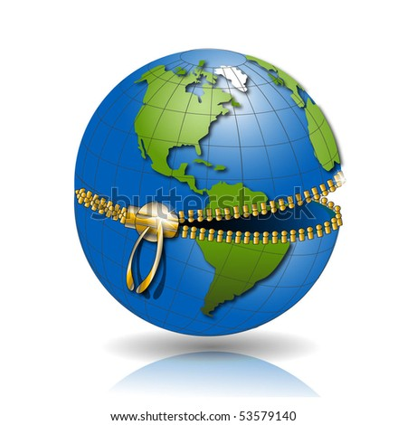 globe on lock - stock vector