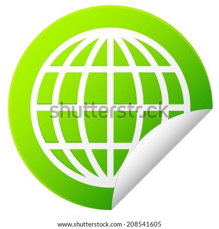 Globe outline sticker - stock vector