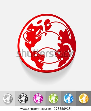 globe paper sticker with shadow. Vector illustration - stock vector