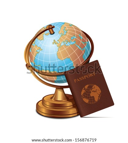 Globe Passport Travel Icon - stock vector