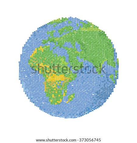 Globe pixel, a pixel map of the world. Earth pixel. Vector globe. Earth icon illustration - stock vector