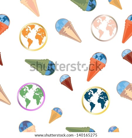 globe seamless pattern - stock vector