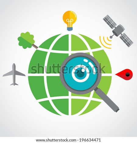 Globe searching - stock vector