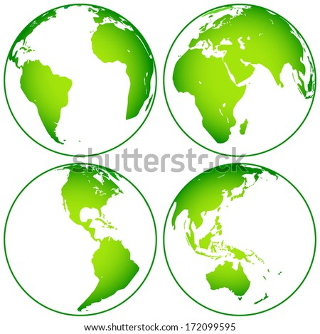 Globe set for various design. Globes are located in different layers  - stock vector