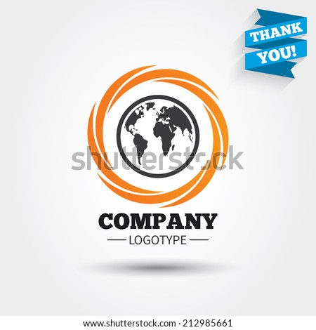Globe sign icon. World map geography symbol. Business abstract circle logo. Logotype with Thank you ribbon. Vector - stock vector