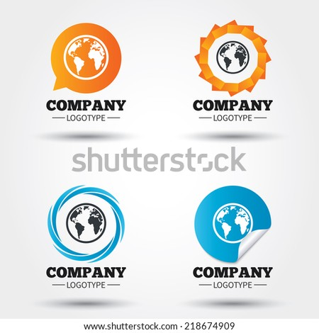 Globe sign icon. World map geography symbol. Business abstract circle logos. Icon in speech bubble, wreath. Vector - stock vector