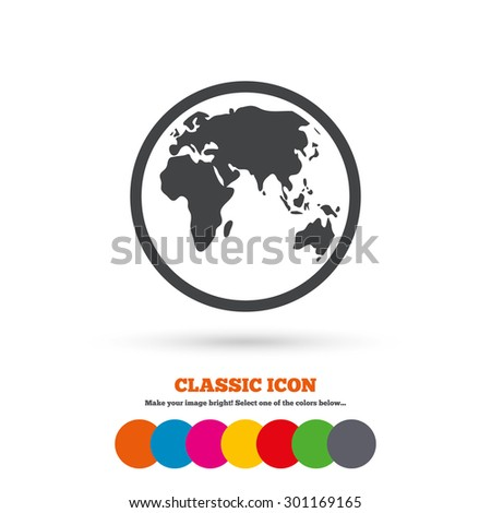 Globe sign icon. World map geography symbol. Classic flat icon. Colored circles. Vector - stock vector