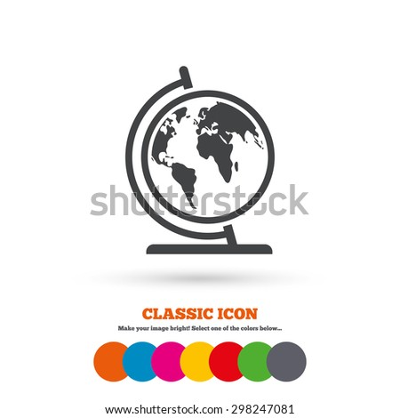 Globe sign icon. World map geography symbol. Globe on stand for studying. Classic flat icon. Colored circles. Vector - stock vector