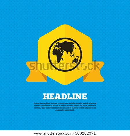 Globe sign icon. World map geography symbol. Yellow label tag. Circles seamless pattern on back. Vector - stock vector