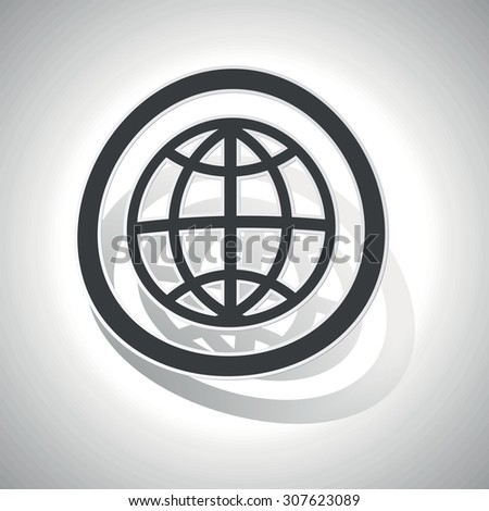 Globe sign sticker, curved, with outlining and shadow - stock vector