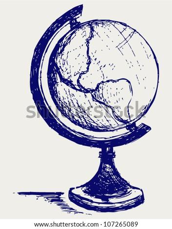 Globe sketch - stock vector