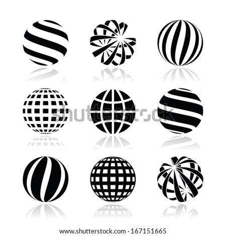 Globe sphere, earth vector icons set - stock vector