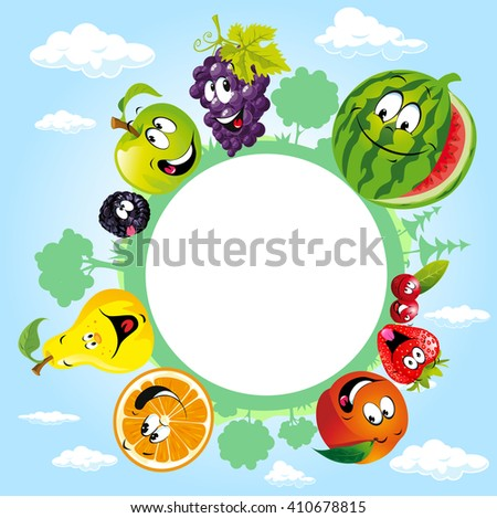 globe surrounded by clouds, sky and fruit - vector illustration - stock vector