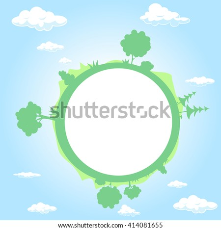 globe surrounded by clouds, sky and tree - vector illustration - stock vector