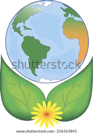 globe surrounded by leaves, vector, white background, isolated, logo - stock vector