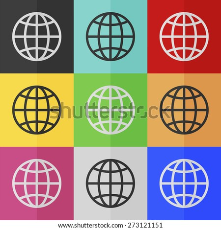 Globe vector icon - colored set. Flat design