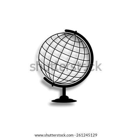 globe vector icon with shadow