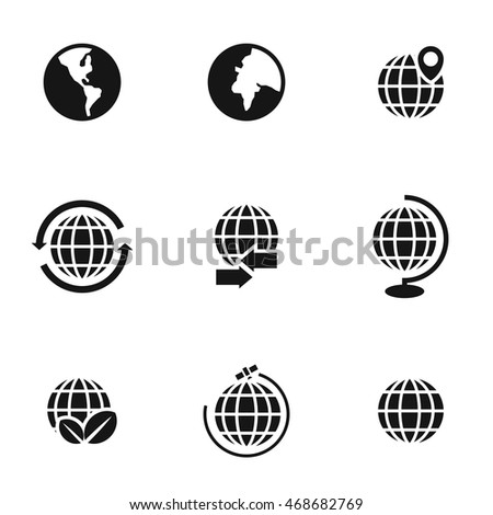 Globe vector icons. Simple illustration set of 9 globe elements, editable icons, can be used in logo, UI and web design