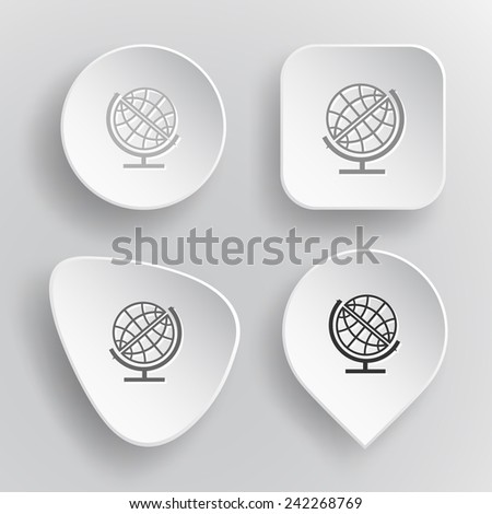 Globe. White flat vector buttons on gray background. - stock vector