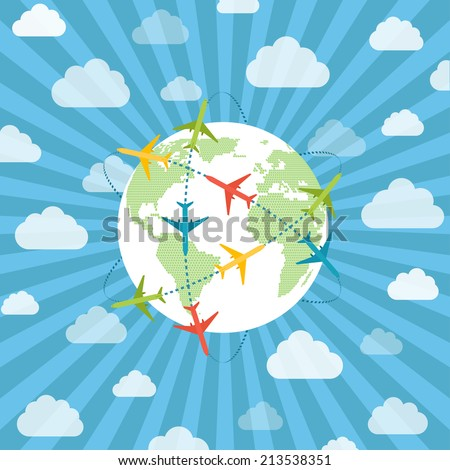globe with airplanes - stock vector