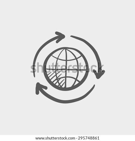 Globe with arrow sketch icon for web and mobile. Hand drawn vector dark grey icon on light grey background. - stock vector
