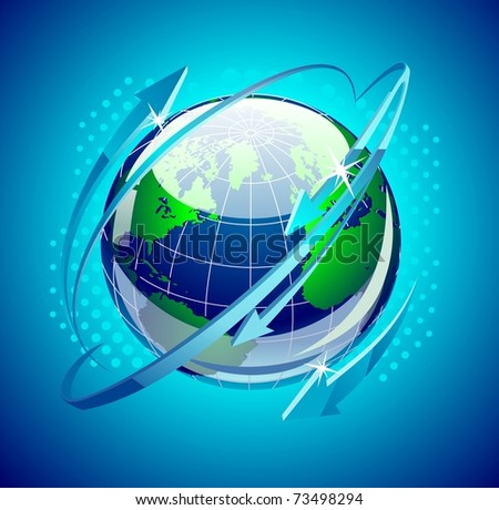 globe with arrows around it - stock vector