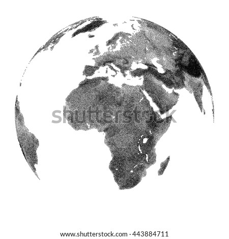 Globe with continental relief - vector stippled illustration. Views of Africa - stock vector