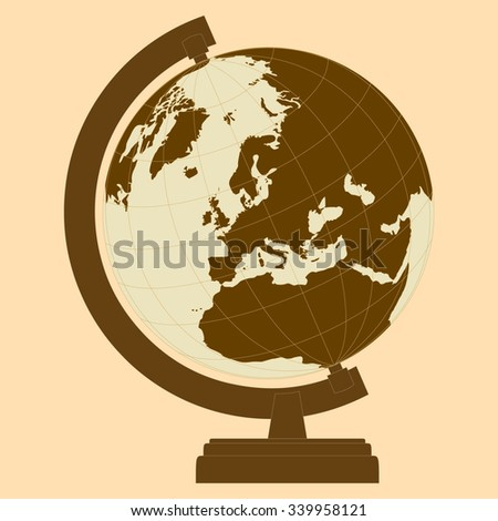 Globe with continents, oceans and seas with stand. A means for learning and acquiring knowledge of geography. School equipment. Vector - stock vector