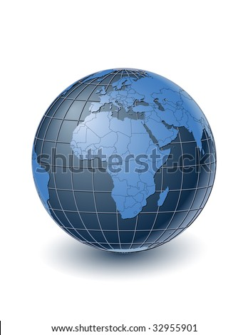 Globe with country borders, centered on Africa. Highly detailed. Separate layers for globe, grid, continents and borders, fully editable. - stock vector