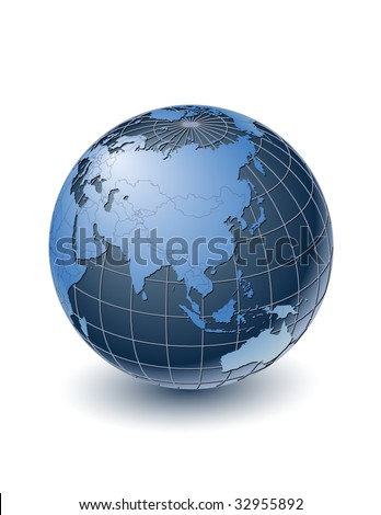 Globe with country borders, centered on Asia. Highly detailed. Separate layers for globe, grid, continents and borders, fully editable. - stock vector