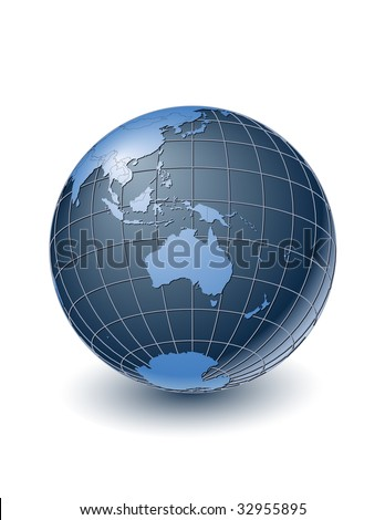 Globe with country borders, centered on Australia. Highly detailed. Separate layers for globe, grid, continents and borders, fully editable. - stock vector