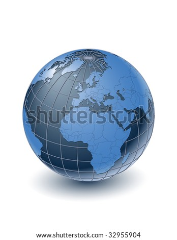 Globe with country borders, centered on Europe. Highly detailed. Separate layers for globe, grid, continents and borders, fully editable. - stock vector