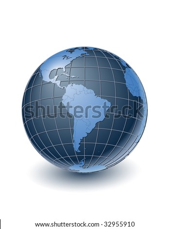 Globe with country borders, centered on South America. Highly detailed. Separate layers for globe, grid, continents and borders, fully editable. - stock vector