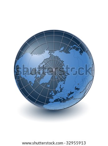 Globe with country borders, centered on the north pole. Highly detailed. Separate layers for globe, grid, continents and borders, fully editable. - stock vector