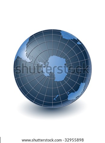 Globe with country borders, centered on the south pole. Highly detailed. Separate layers for globe, grid, continents and borders, fully editable. - stock vector