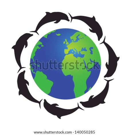 globe with dolphins vector illustration