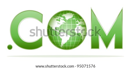 globe with dot com in green colors - stock vector