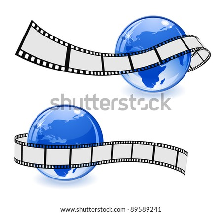 globe with film strip - stock vector