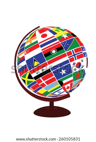 globe with flags of the world - stock vector