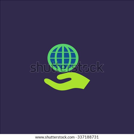 Globe with hand. Icon Vector. Icon Picture. Icon Graphic. Icon Art. Icon JPG. Icon JPEG. Icon EPS. Icon AI. Icon FLAT. Icon SIMPLE - stock vector